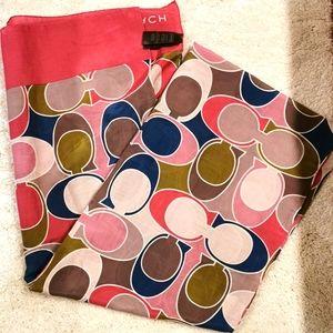 Coach cotton and silk scarf multicolor multi use